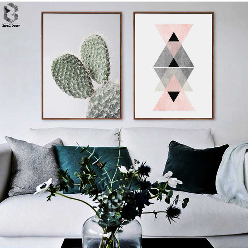 Fresh Cactus & Geometric Scandinavian Poster Wall Art Canvas Painting Modern Minimalism Print Living Room Home Decoration