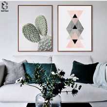 Fresh Cactus & Geometric Scandivanian Poster Wall Art Canvas Painting Modern Minimalism Print Living Room Home Decoration