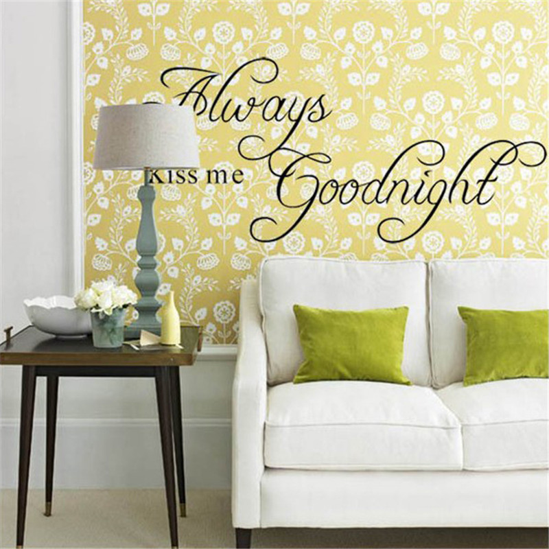 New ALWAYS KISS ME GOOD NIGHT Removable Wall Sticker Decal Home ...