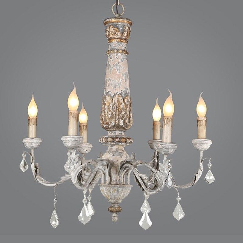 Shabby Chic en Bois bougie Lustre Vintage cristal Bois Lustre plafond Lustre éclairage salon cuisine luminaires