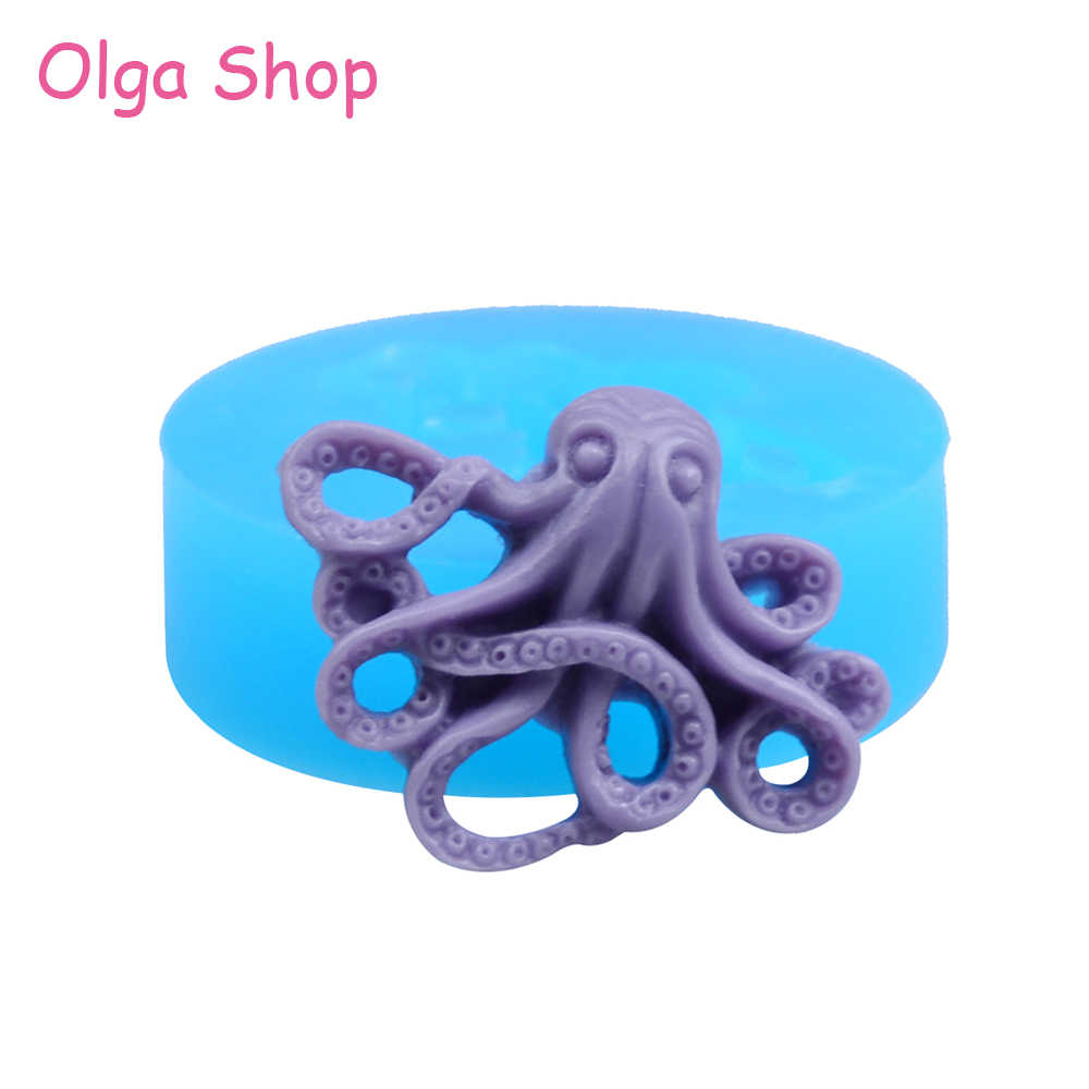 DIY Octopus Silicone Mold Resin Squid Clay Pendant Jewelry Craft Fondant Making