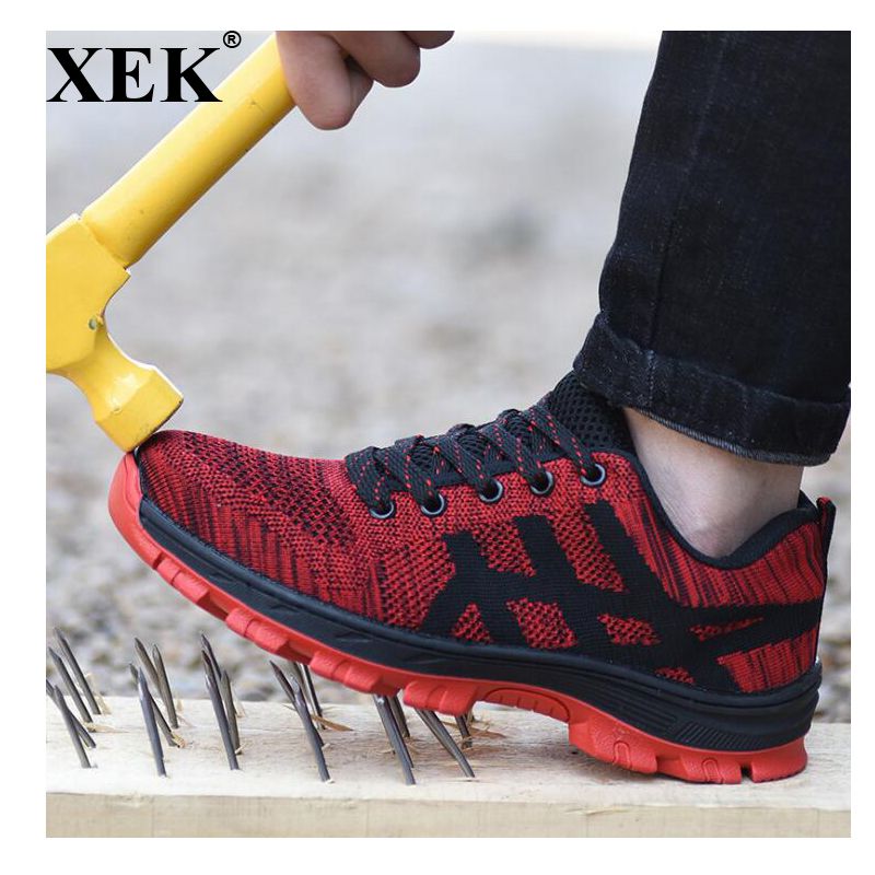 XEK Mens Fashion Steel Toe Covers Working Safety Shoes Breathable Summer Anti puncture Tooling Low Boots