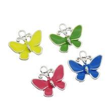 Classics  8pcs Mixed Colors Colorful Enamel Zinc Alloy Pendant Charm Butterfly Classic Necklace DLY Accessories