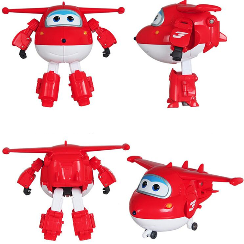 1Pcs Big Size Kid Airplane Action Figure Toys Mini Airplane Robot Superwings Transformation Cartoon Toys For Children Boys Gifts cartoon airplane style red
