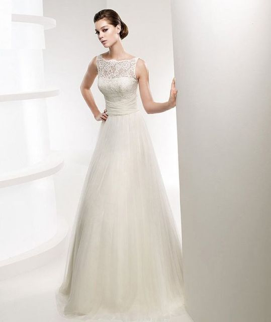1 Piece Organza And Satin Material White Simple Decent A Line Wedding Dress