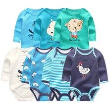 7 adet/takım yenidoğan bebek kız giysileri uzun kollu erkek tulum giyim Recien bebek pijama pamuk roupas de bebe bebek Onesies