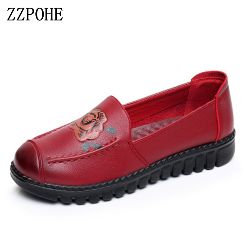 ZZPOHE Shoes Woman 2018 Genuine Leather Women Flats Shoes Mother Slip on casual Comfortable Autumn Shoes Female Work shoes zzpohe spring autumn new women shoes fashion casual slip on pointed toe woman flats shoes female comfort work office shoes