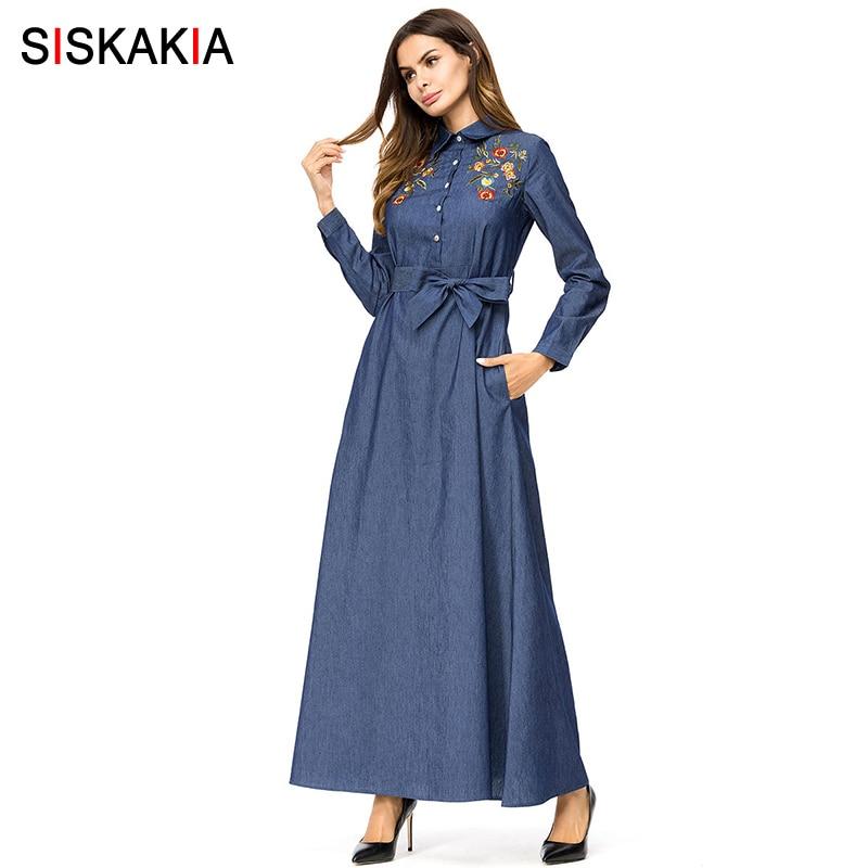 03fe6cfdf2b84 Siskakia Elegant Womens Shirt Dress Denim lapel Long Sleeve Single-breasted  Chic Floral Embroidery Maxi Dresses Autumn Fall 2018