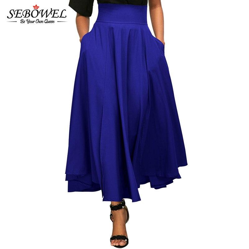SEBOWEL 2018 Autumn Winter Women Blue Skirt vintage Retro Plus Size High Waist Pleated Belted Long Maxi Skirt Back Bow Tie S-XXL