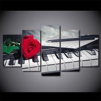 5D DIY Diamond Embroidery Flower red Piano roses Keys 5pcs Multi picture Combination Diamond Painting Cross Stitch Rhinestone