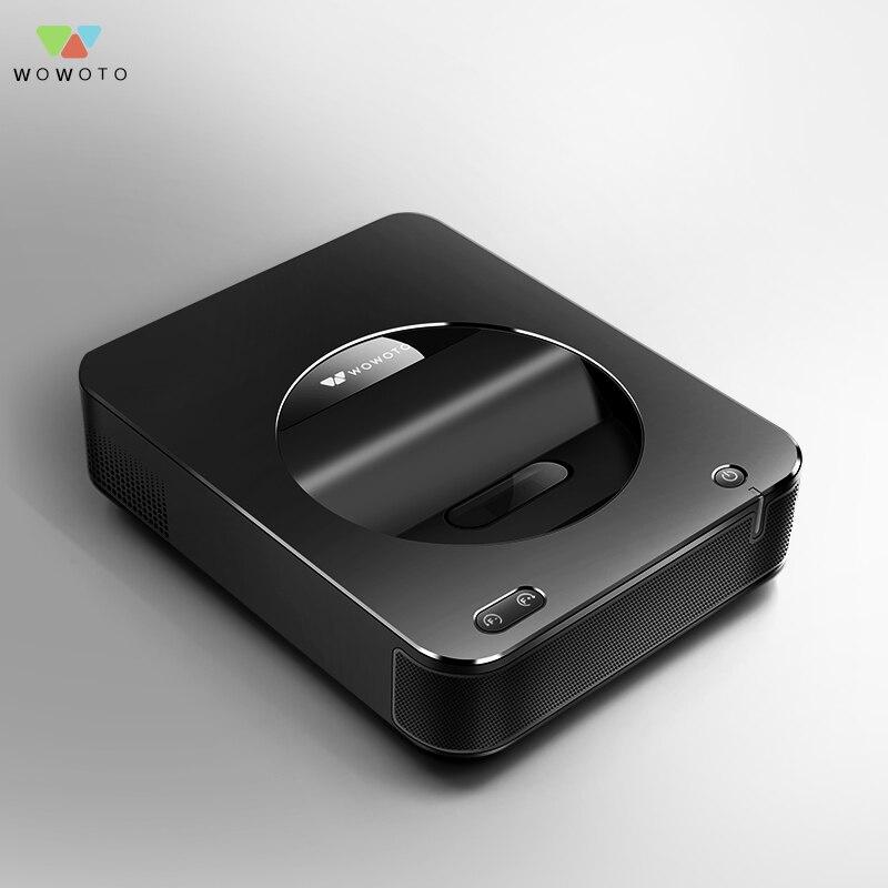 WOWOTO Noir Projecteur À focale Courte 1500 Lumens Grande Maison de mémoire Mini pico projecteur Électrique en se concentrant Projecteur