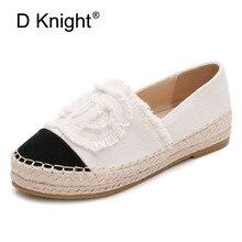 66d66020 Nueva moda de las mujeres alpargatas Slip-On pisos barco pescador tejer  Casual mocasines de lona Oxford Lazy Mujer Zapatos más t.