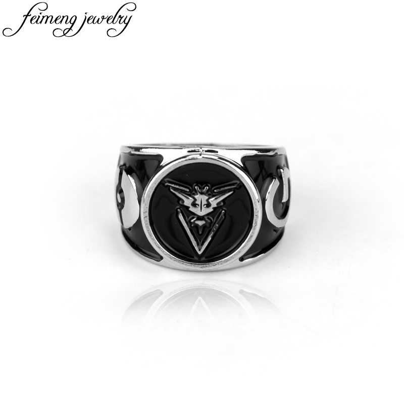 Pokemon Go Instinct Valor Mystic Power Rings For Game Fans Jewelry Pocket Monster Anime Ring Fashion Jewelry Accessories For Men