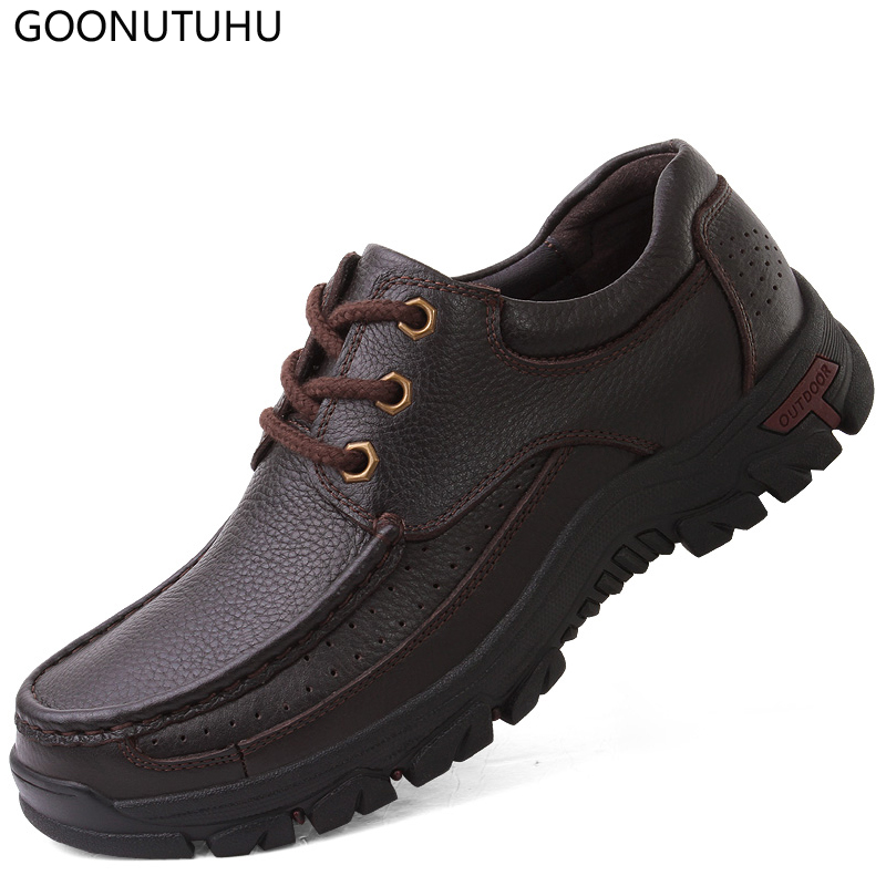 Mens shoes casual lace-up genuine leather cow classic black & brown male shoe soft breathable for men hot sale