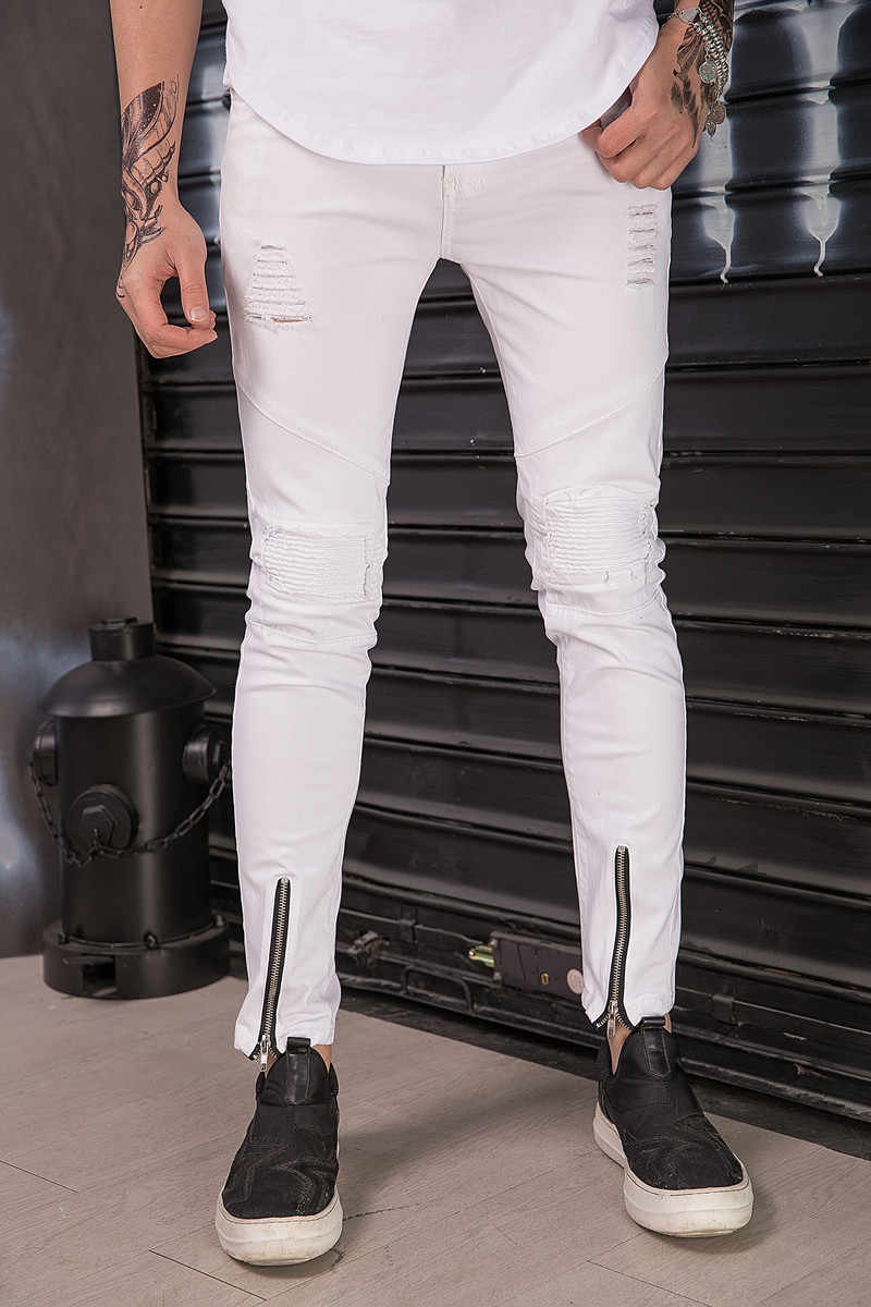 Новый Известный Для мужчин Брендовая Дизайнерская обувь обтягивающие джинсы хип-хоп улица рваные Для мужчин s Белый джоггеры колена плиссированные Уничтожено джинсы брюки