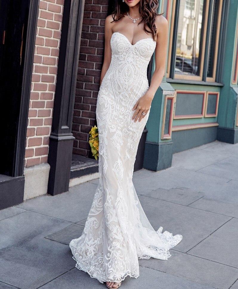 Sweetheart Vintage Mermaid Wedding Dress With Unique Lace Appliques Bridal Dress 2020 Elegant Wedding Gowns