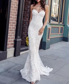 Sweetheart Vintage Mermaid Wedding Dress with Unique Lace Appliques Bridal 2020 Elegant Gowns
