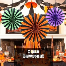 Vintage Assorted Colors Halloween Spooky Hanging Fans Party Paper Rosette Pinwheel
