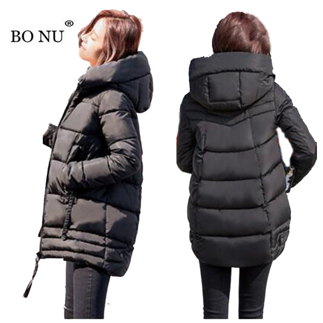 BONU Winter Hooded Parka For Women Short Winter Jacket Women Warm Parka Jacket Female Coat windbreaker Winter women's Jacket
