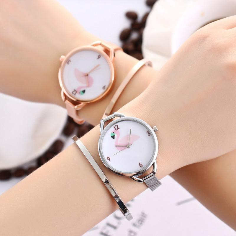 יוקרה מותג שעון נשים עלה זהב פלמינגו נשים שעונים נירוסטה פשוט שעון saat reloj mujer
