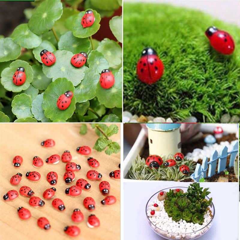 10 Pcs Mini Cabochon Ladybug Fairy Garden Miniatures สวนตกแต่งภูมิทัศน์ Micro Bonsai Figurine เรซิ่นหัตถกรรม
