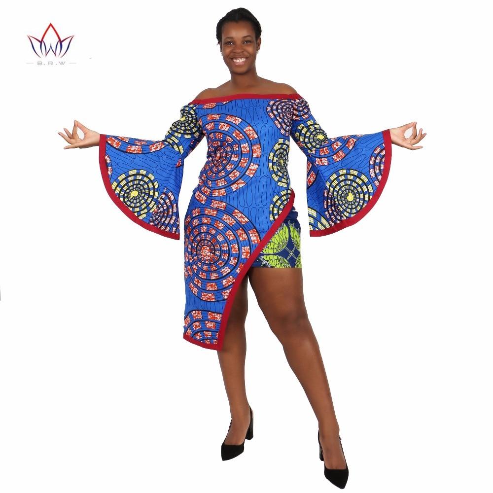 BRW Aafrika riietus 2 tk komplekt Naiste kleit ülikond Crop Top ja print Mini seelik Bazin Naised pluss suurus Aafrika riided WY1223