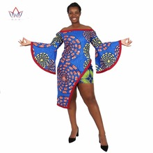 BRW African Clothing 2 Piece Set Women Dress Suit Crop Top and Print Mini Skirt Bazin Women Plus Size African Clothing WY1223
