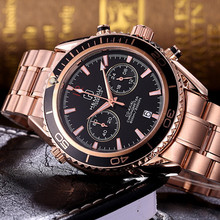 New Brand Mens Chronograph Wrist Watch Multifunction Top Luxury Brand Stainless Steel Males Geneva Quartz Clock 2017