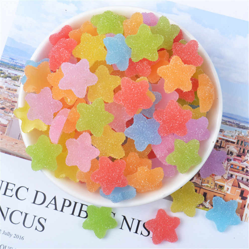 20pcs Mix Resin Soft Star Imitation Food candy necklace charms keychain pendant necklace Flatback Jewelry Cabochons Slime Charms
