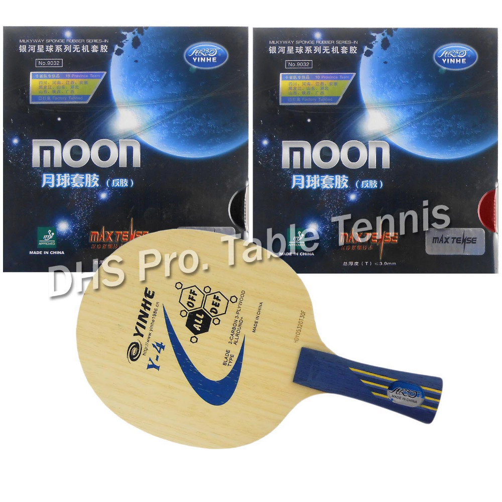 Pro Table Tennis Combo Paddle Racket Galaxy YINHE Y-4 with 2x Galaxy YINHE Moon Factory Tuned shakehand Long Handle FL original pro table tennis combo racket galaxy yinhe w 6 moon factory tuned and palio cj8000 biotech shakehand long handle fl
