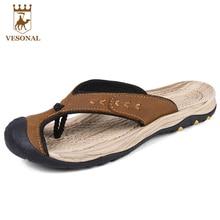 VESONAL Verano Playa de Los Hombres Sandalias Zapatillas de Marca Flip Flop Sandalias de Cuero Genuino Masculino Zapatos Sandalias Ocasionales Cómodos Suaves