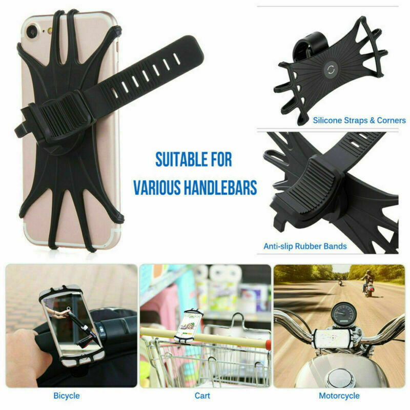 Bicycle Mobile Phone Holder Silicone Motorcycle MTB Bike Bicycle Handlebar Mount Silicone Band Cell Phone Holder For Cell phone