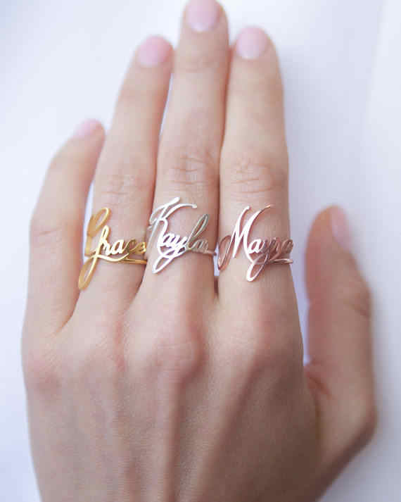 Rose Gold Silver Black Personalized Stackable Custom Personalized Name Ring For Women Wedding Stainless Steel Bridesmaid Gift