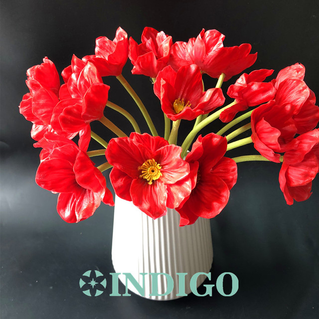 Indigo 10 pcs red poppy anemone flower remembrance day flower indigo 10 pcs red poppy anemone flower remembrance day flower wedding artificial flower floral event mightylinksfo