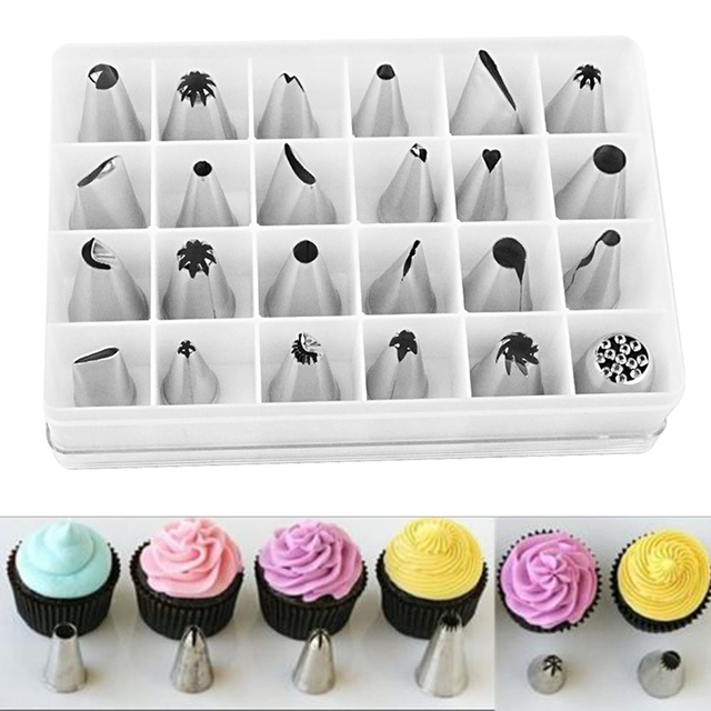 24 Pcs/Lot Stainless Steel Piping Nozzle Pastry Tube Fondant Cake Decorating  Tool Set Free