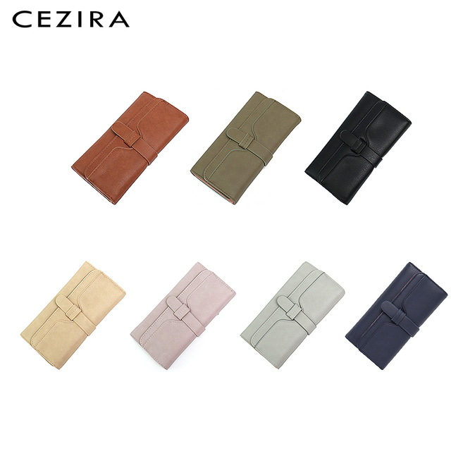 CEZIRA Long Wallet Buckle Ladies Wallets Female Clutch Credit Card Holders Cellphone Multi Pockets Purse Faux Leather Wallets 1
