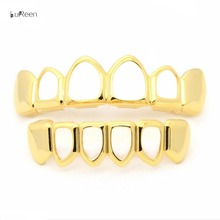 Hot Gold Plated Hiphop Teeth Grillz Top & Bottom Grill Hip Hop Bling Hollow Vampire Teeth for Halloween Christmas Gift