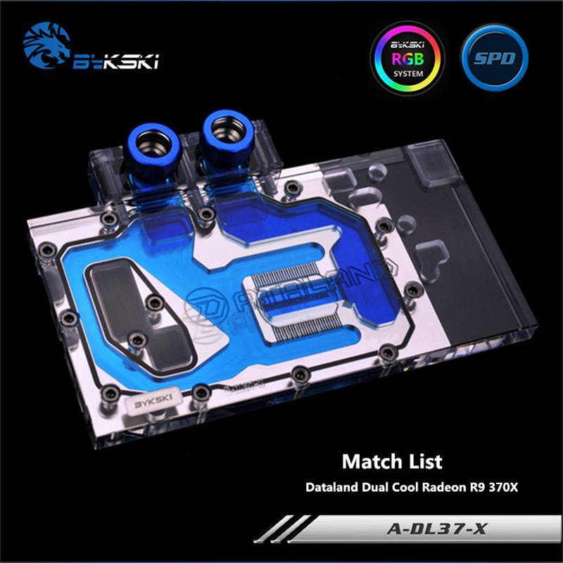 Bykski Full Coverage GPU Water Block For Dataland Dual Cool Radeon R9 370X Graphics Card A-DL37-X bykski a xf37bwpk x full cover graphics card water cooling block for xfx r9 370 370x 380 380x