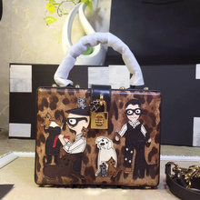 Star with a bag of European and American high-end imported leather bag leather handbag box leopard family series