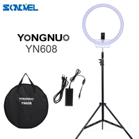 YongNuo YN608 LED Ring Light 3200K~5500K Wireless Remote Video Light CRI>95 Photo Lamp with 2m Light Stand and Power Adapter