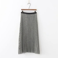 FREE SHIPPING Miyake Autumn women's European and American new casual trend plaid pleated midi skirt IN STOCK