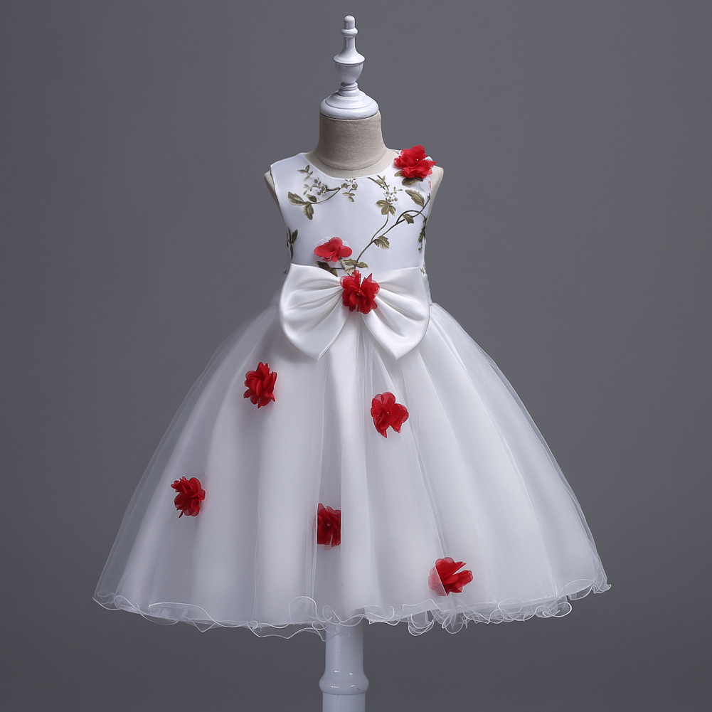 Toddler Girls Summer Clothing Kids Flower Wedding Party Evening Dresses Baby Girl White Bow Short Dress for 3,8,10,12 Years Old girls dress 2017 new summer flower kids party dresses for wedding children s princess girl evening prom toddler beading clothes page 3