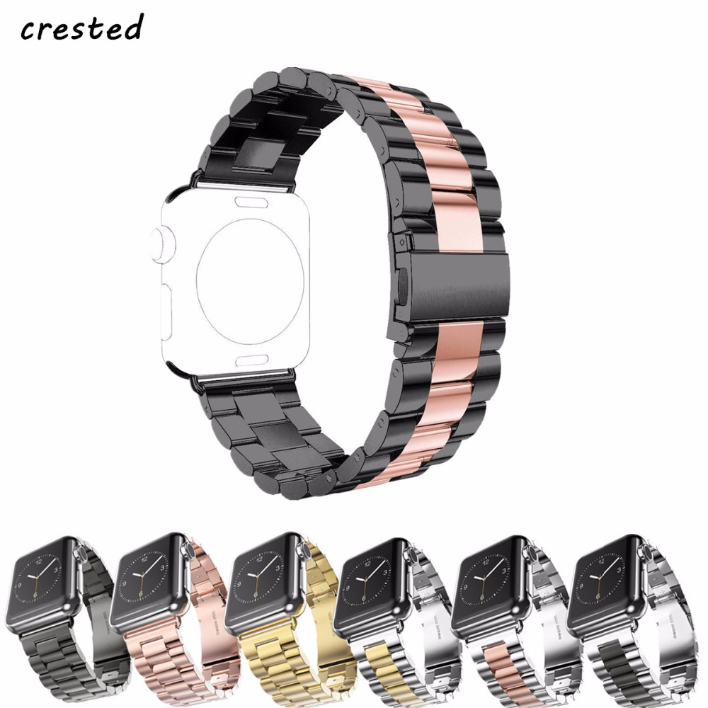 CRESTED strap band for apple watch 3 42mm 38mm for iwatch 3 2 1 Stainless Steel wrist watch band link bracelet Watchband strap baseus tpu strap watch band back cover for apple watch iwatch 38mm