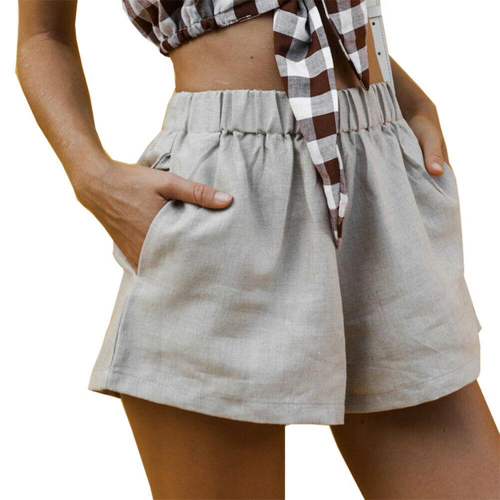 Fashion Casual Slim Fit Women Summer Short Stylish Loose Shorts Belt Beach High Waist Lilen Elastic Waistband  Short Trousers