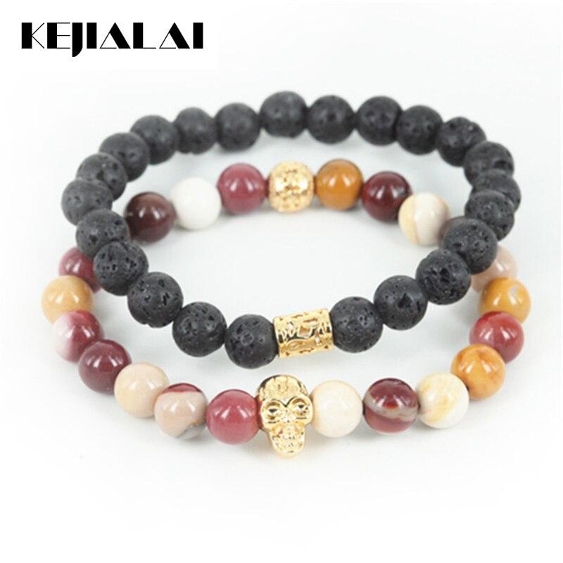 KEJIALAI 2pcs High Quality Natural Lava/Egg Yellow Round Stone Beads Men Bracelet Beaded Skull Head Women Bracelet A0587