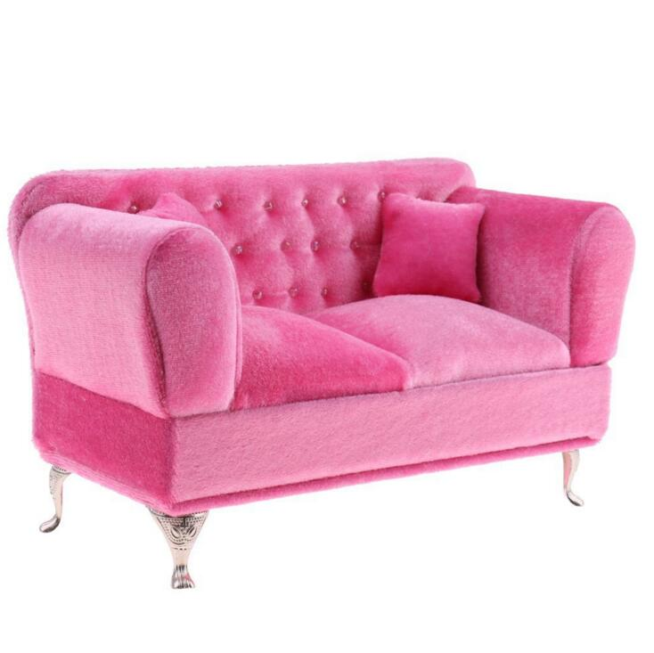 1/6 Doll House Mini Furniture Sofa BJD Doll Props Toilet Case Big Pink Sofa  On The Flannelette For 1/6 Blyth And Barbie  In Doll Houses From Toys U0026  Hobbies ...
