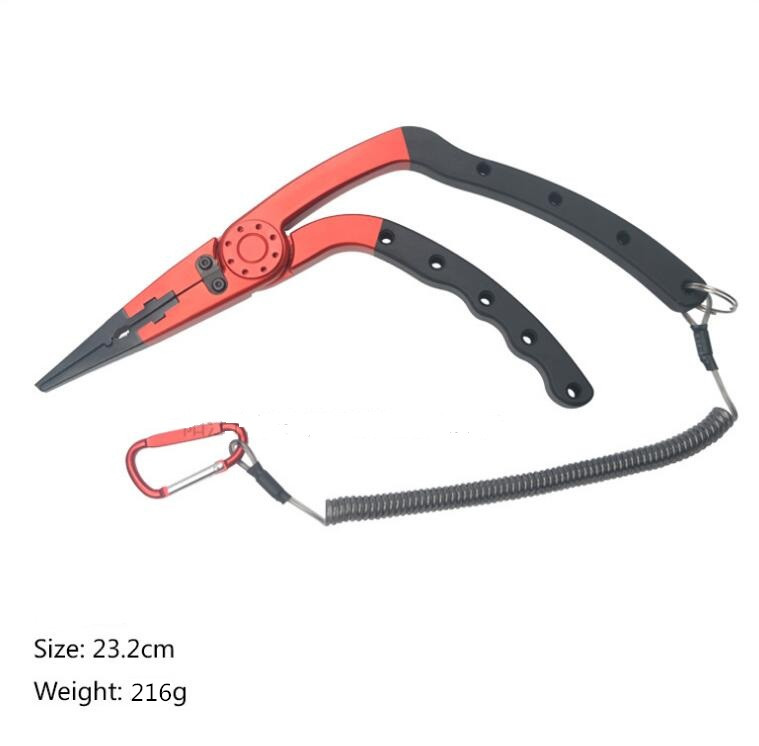 Fishing Pliers Aluminum alloy Split Ring Cutters Fishing Holder Tackle with Sheath Retractable Tether Combo Hooks Remover in Fishing Tools from Sports Entertainment