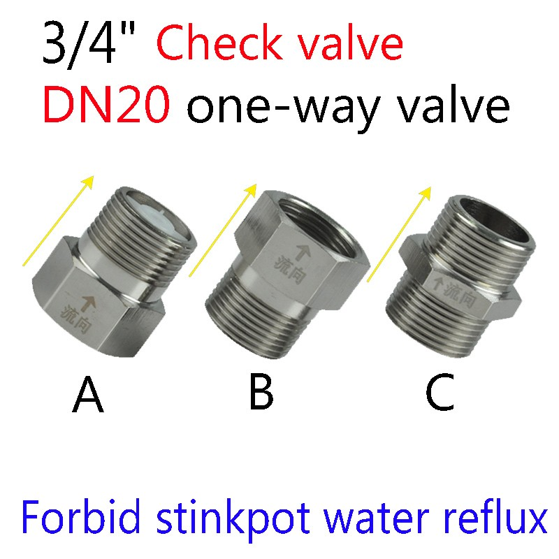 "HTB121XfKVXXXXbDXpXXq6xXFXXXl - 3/4"" DN20 Check Valve Forbid stinkpot/closestool water Reflux Valve / One-way flow /Electric hot water heater valve"