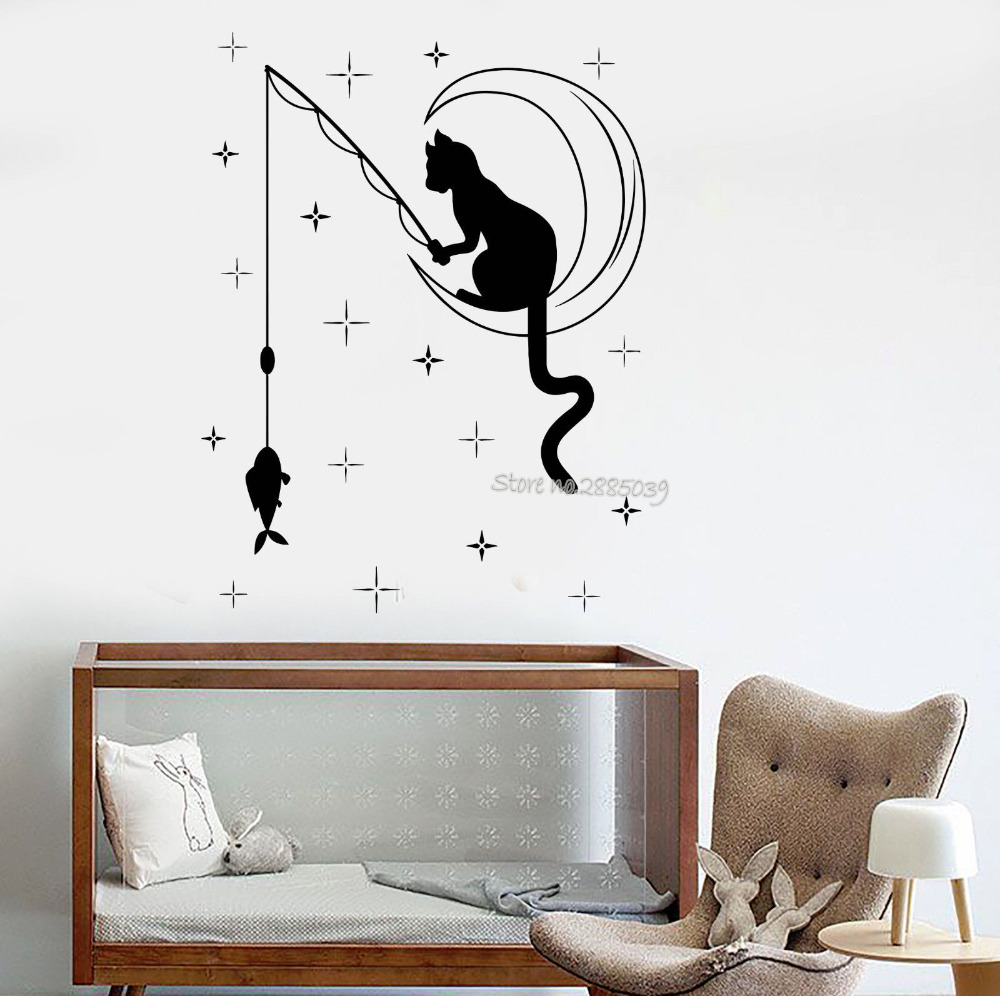 Cat Fishing Stars Vinyl Baby Nursery Wall Decal Crescent Cute Children Bedroom Stickers Home Decor Wall Decals Wallpapers LA498
