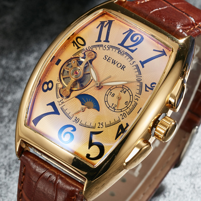 SEWOR Tourbillon Automatic Mechanical Men Watch Top Brand Luxury Army Sport Mens Watches Military Business Male Clock Gift 069 guanqin watch men sport mens watches top brand luxury tourbillon automatic mechanical watch luminous analog clock leather strap